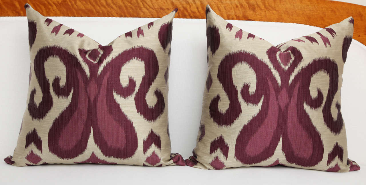 Pair of Amethyst and Silver Silk Pillows 3