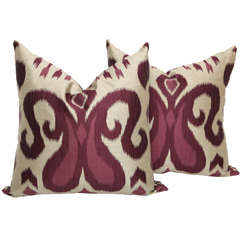 Pair of Amethyst and Silver Silk Pillows
