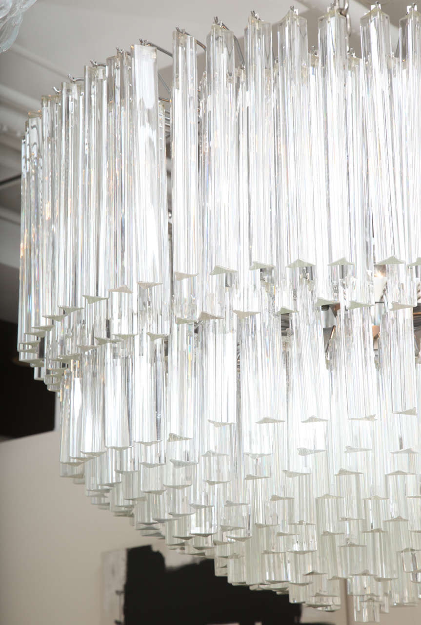 Mid-Century Modern Clear Prism Murano Glass Triedre Chandelier, Italy, Custom Made to Order For Sale