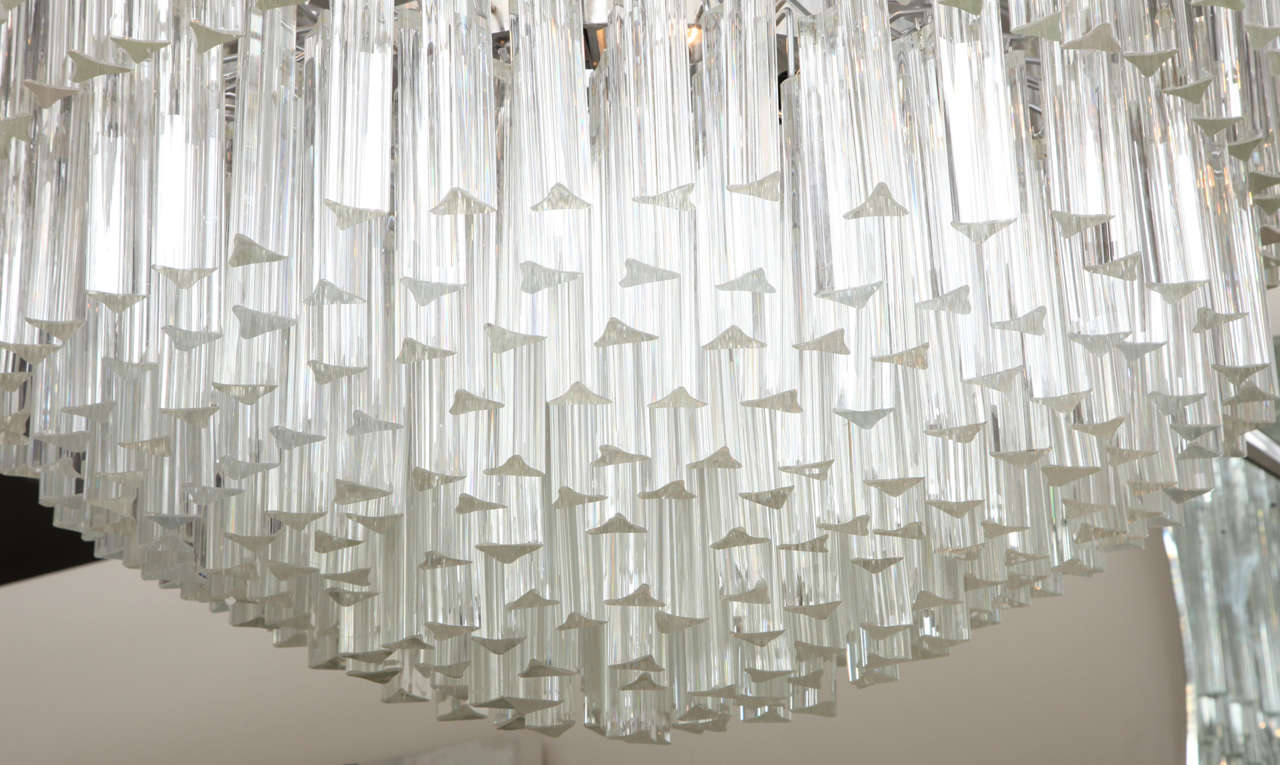 Italian Clear Prism Murano Glass Triedre Chandelier, Italy, Custom Made to Order For Sale