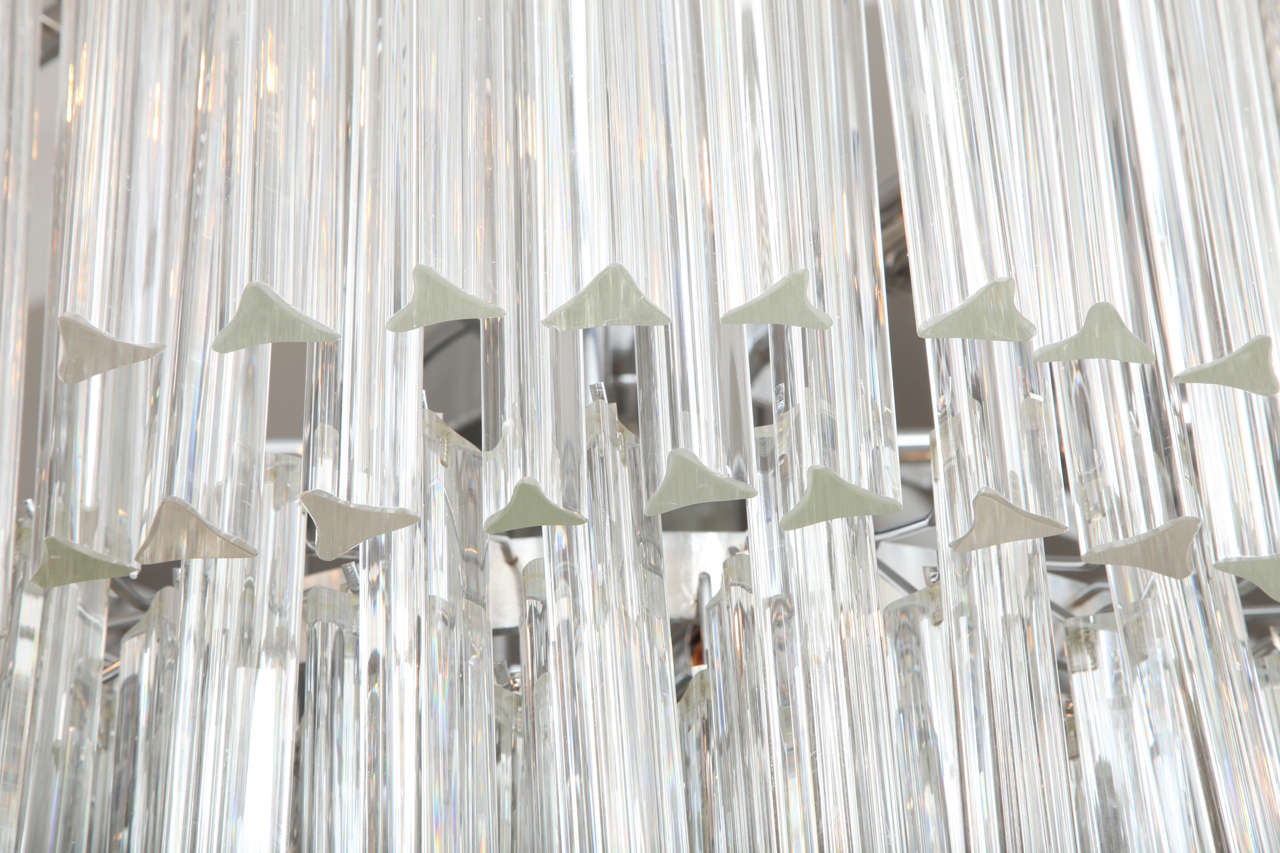Hand-Crafted Clear Prism Murano Glass Triedre Chandelier, Italy, Custom Made to Order For Sale