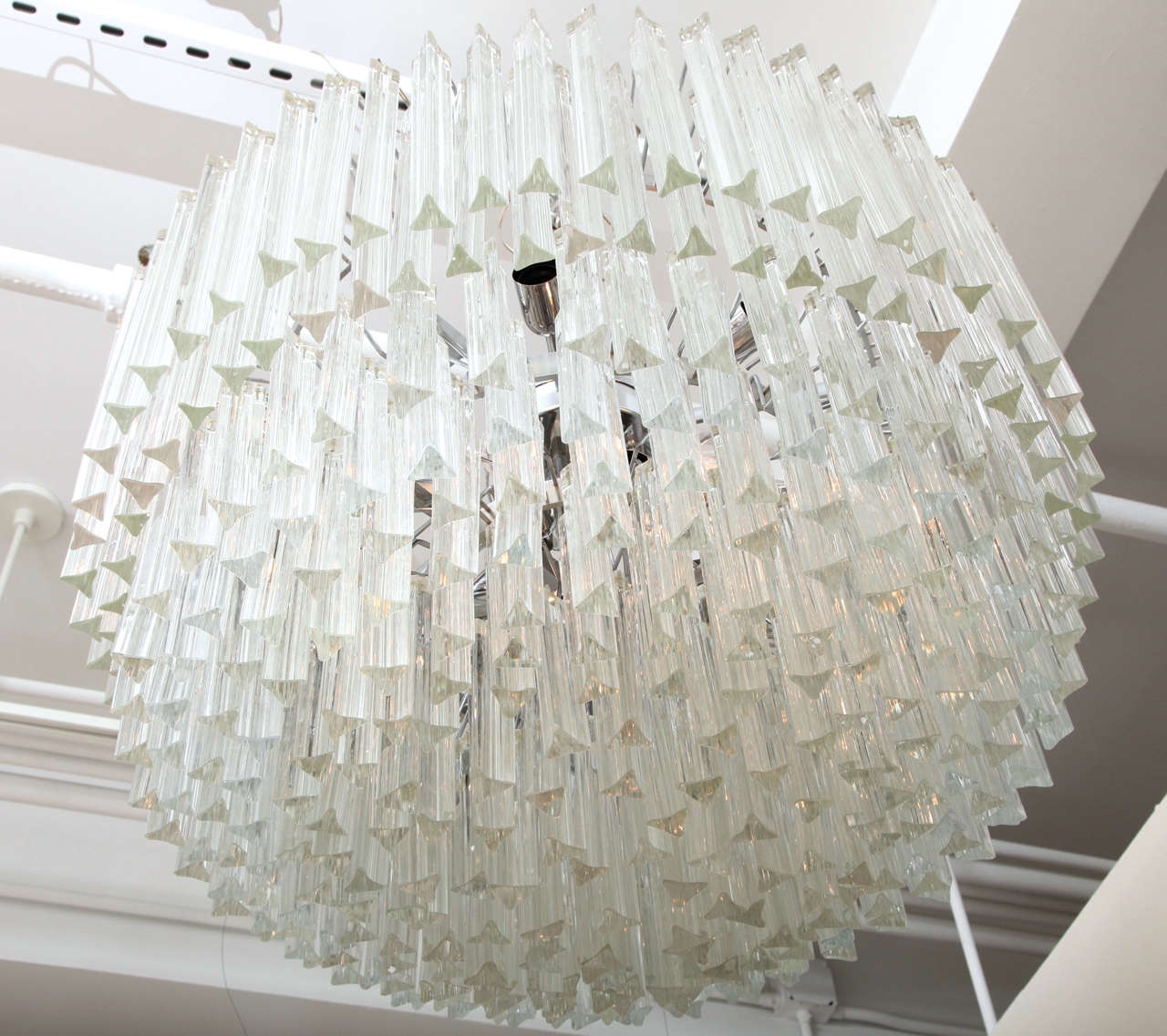 Contemporary Clear Prism Murano Glass Triedre Chandelier, Italy, Custom Made to Order For Sale