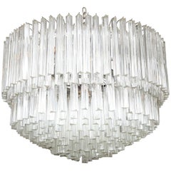 Clear Prism Murano Glass Triedre Chandelier, Italy, Custom Made to Order