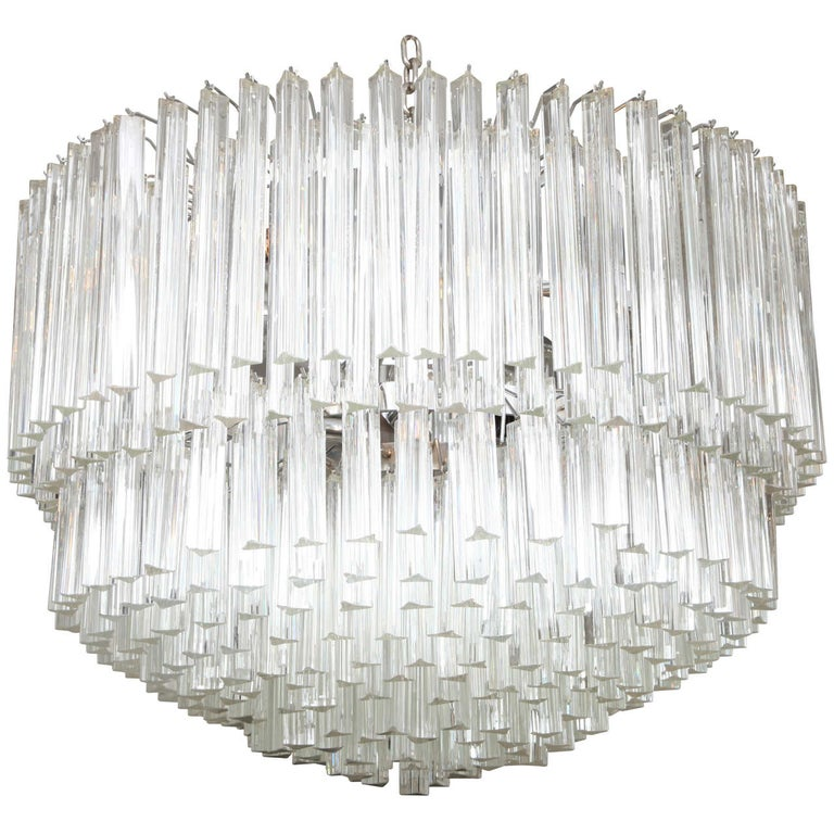 Clear Prism Murano Glass Triedre Chandelier, Italy, Custom Made to Order For Sale