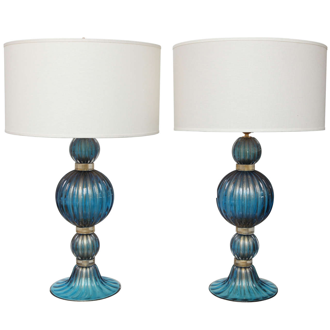 extraordinary pair of gold and cobalt blue murano glass. Black Bedroom Furniture Sets. Home Design Ideas