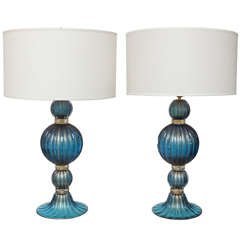 Extraordinary Pair of Gold and Cobalt Blue Murano Glass Lamps