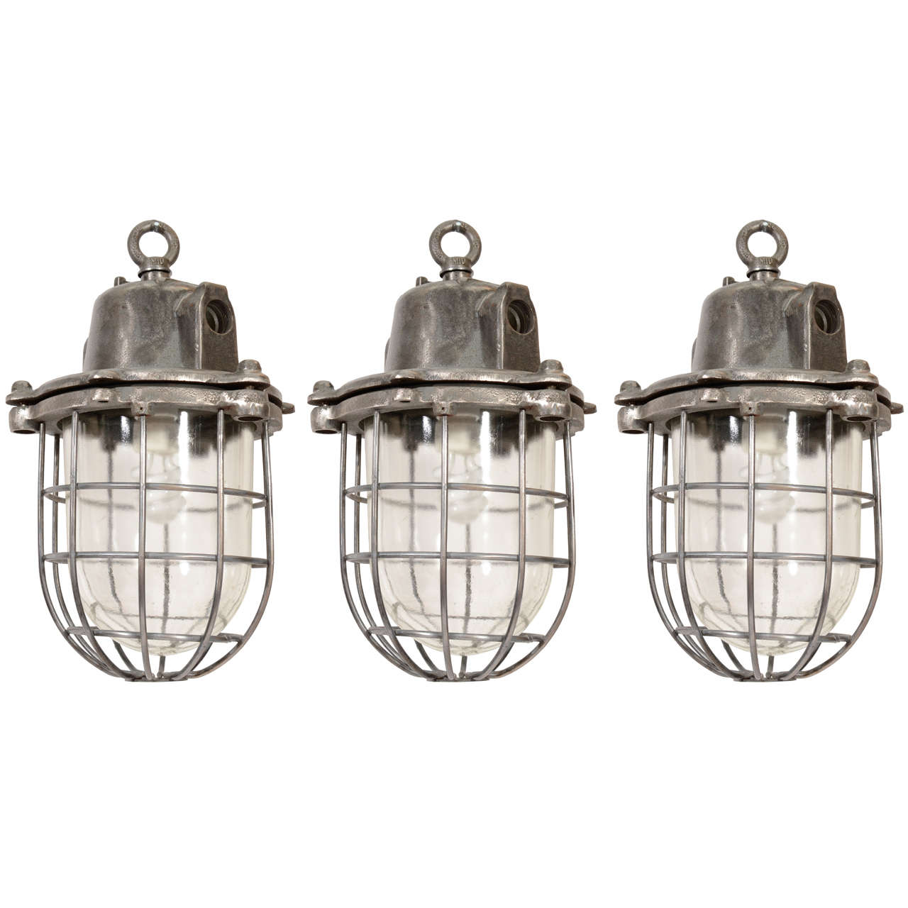 French Metal Industrial Pendant Light With Cage And Bell