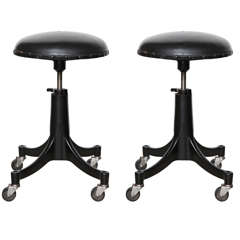 Pair of Bausch & Lomb Black Metal Counter Height Stools