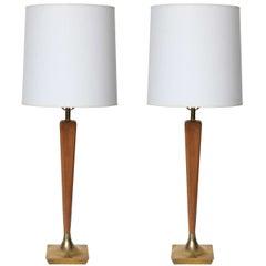 Modern Walnut & Brass Table Lamp