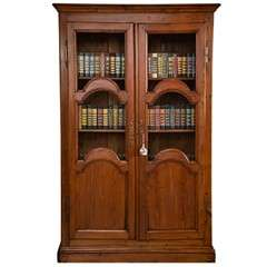 French Pine Bookcase with Paneled and Wired Doors