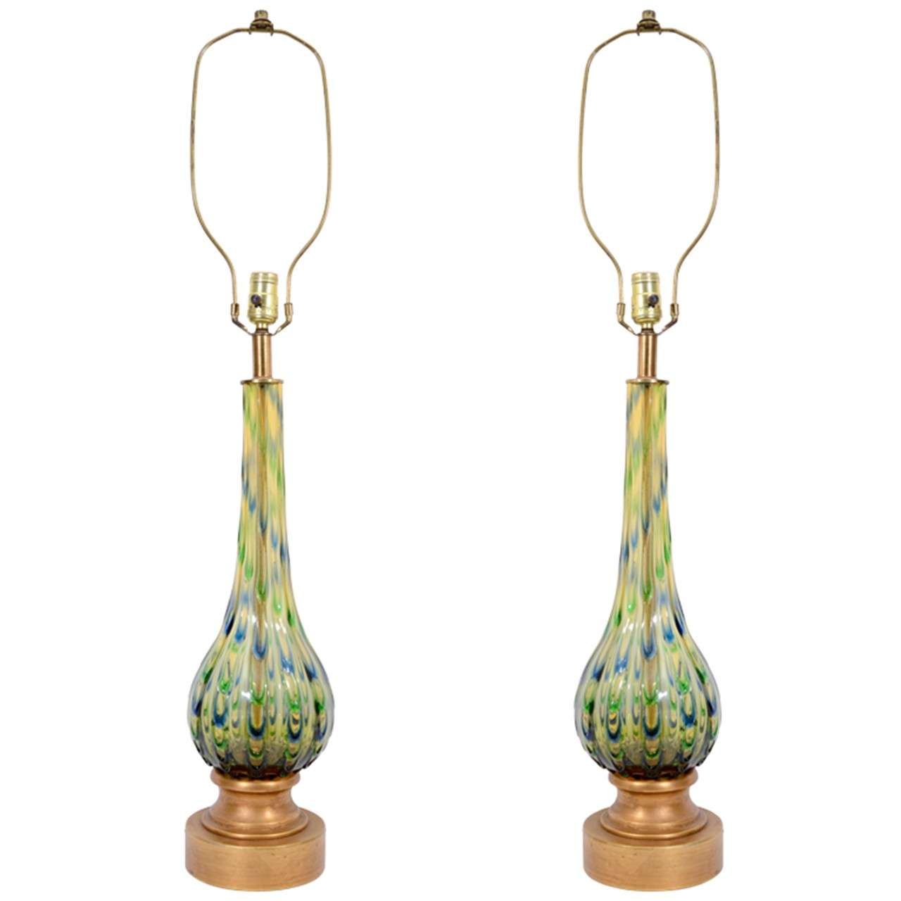 Pair of Mid Century Seguso Murano Glass Lamps in Green, Blue and Amber
