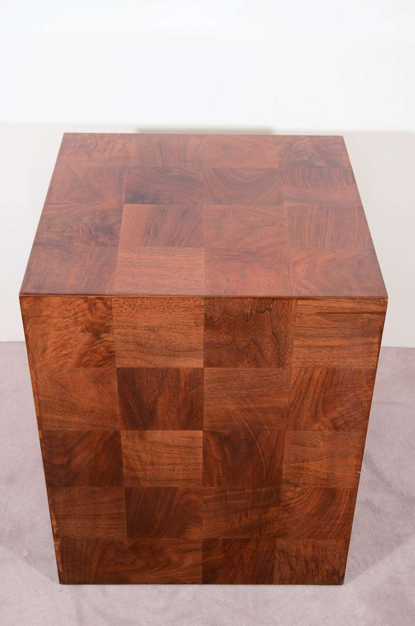 Vintage Lacquered Wood Cube Form Side Table At 1stdibs