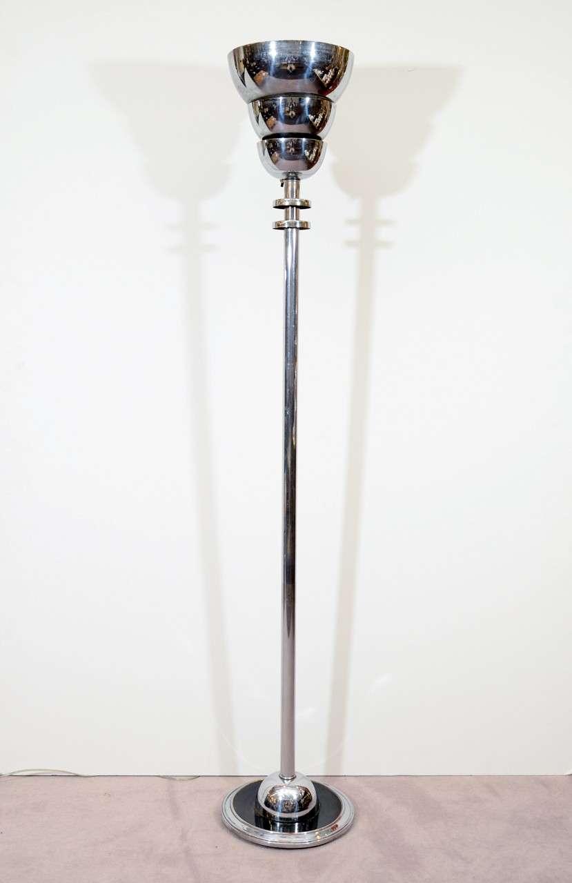art deco chrome torchierre floor lamp at 1stdibs. Black Bedroom Furniture Sets. Home Design Ideas