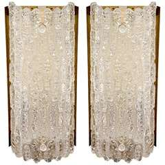 Pair of Mid Century Barovier & Toso Textured Glass Sconces