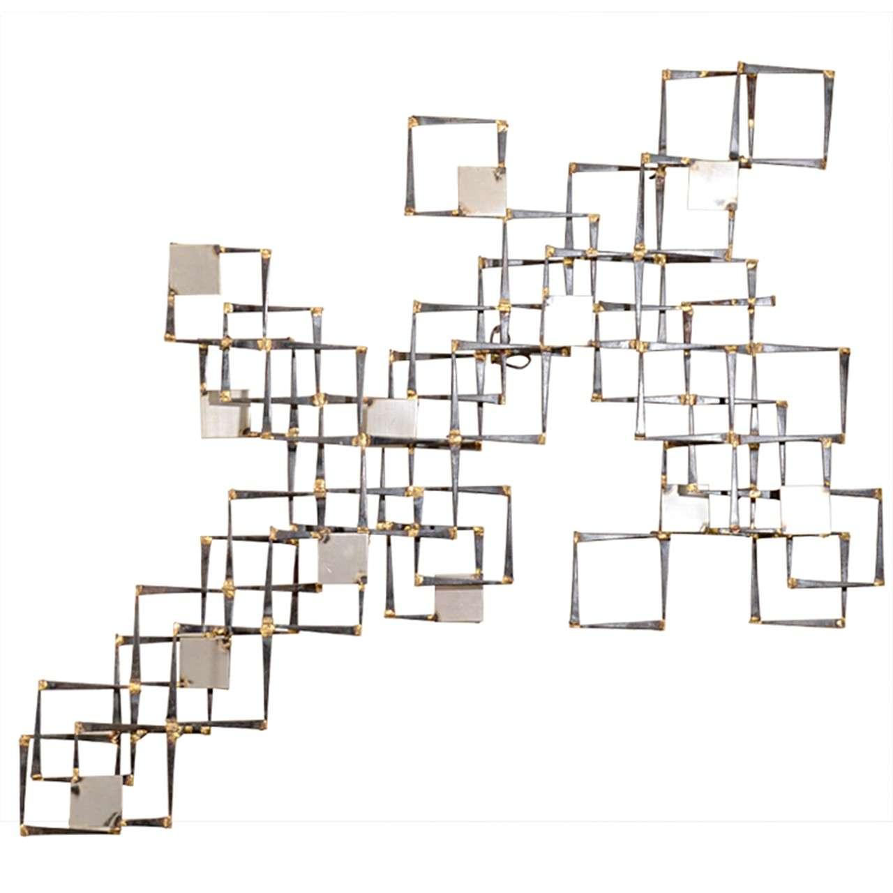 mid century mix metal geometric wall sculpture at 1stdibs. Black Bedroom Furniture Sets. Home Design Ideas