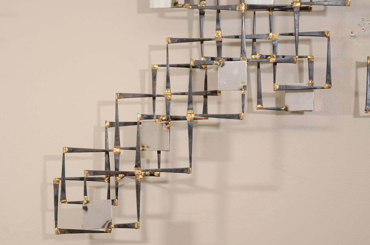 Geometric Metal Wall Decor : Mid century mix metal geometric wall sculpture at stdibs