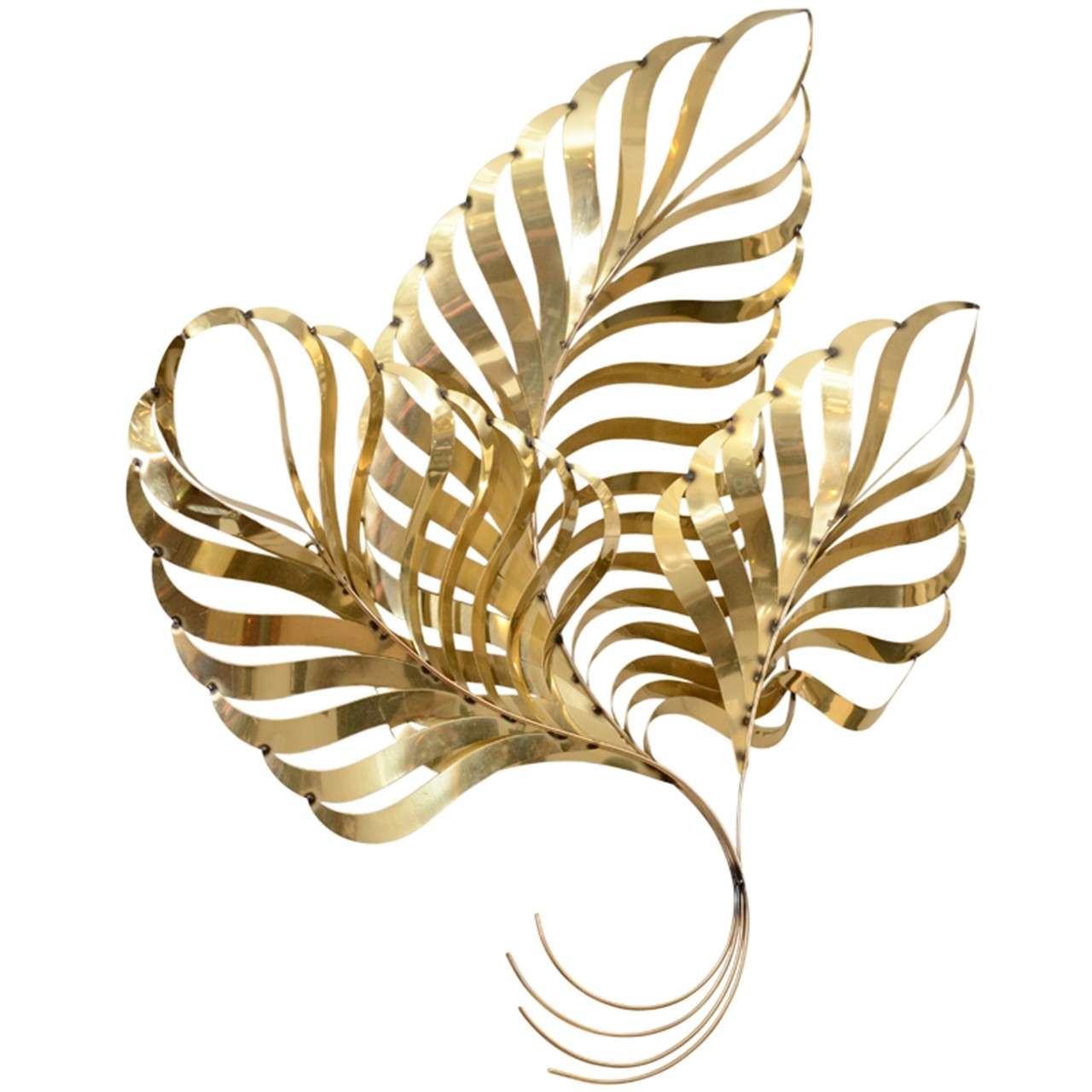 Large vintage brass leaf wall sculpture by curtis jere at for Brass wall art