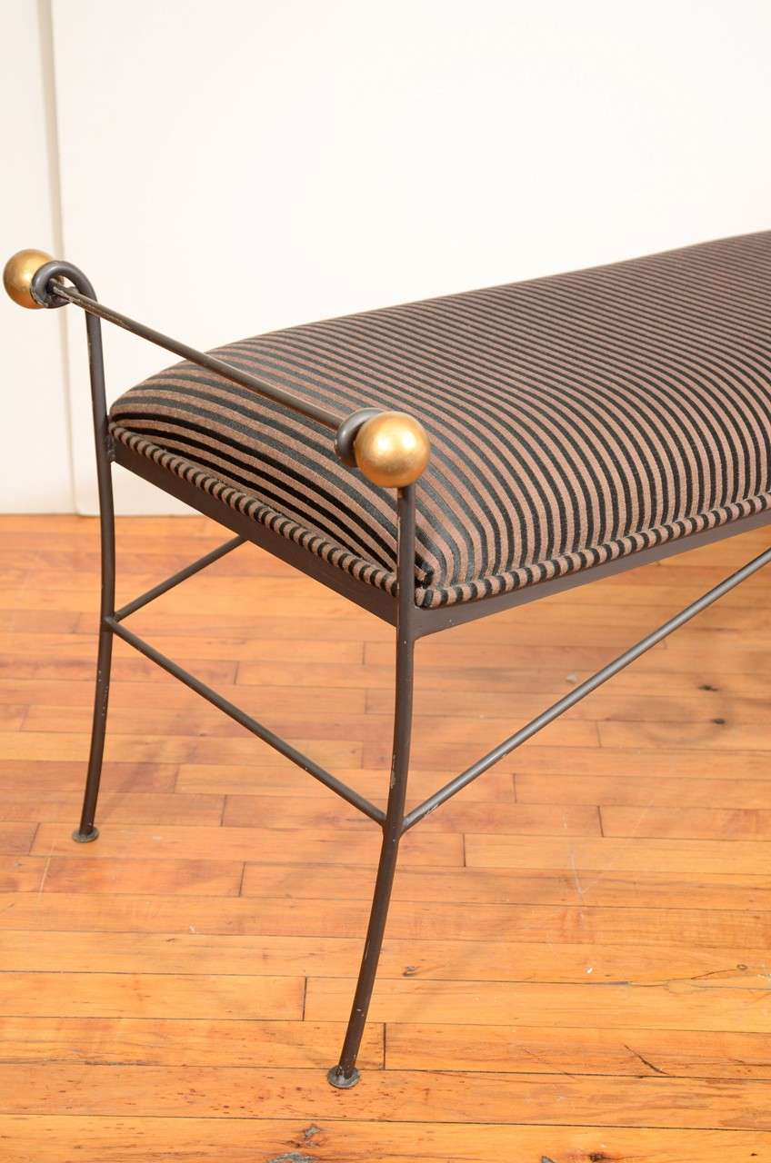 Mid Century Iron Patio Chairs: Mid Century Iron Bench With Striped Upholstery At 1stdibs