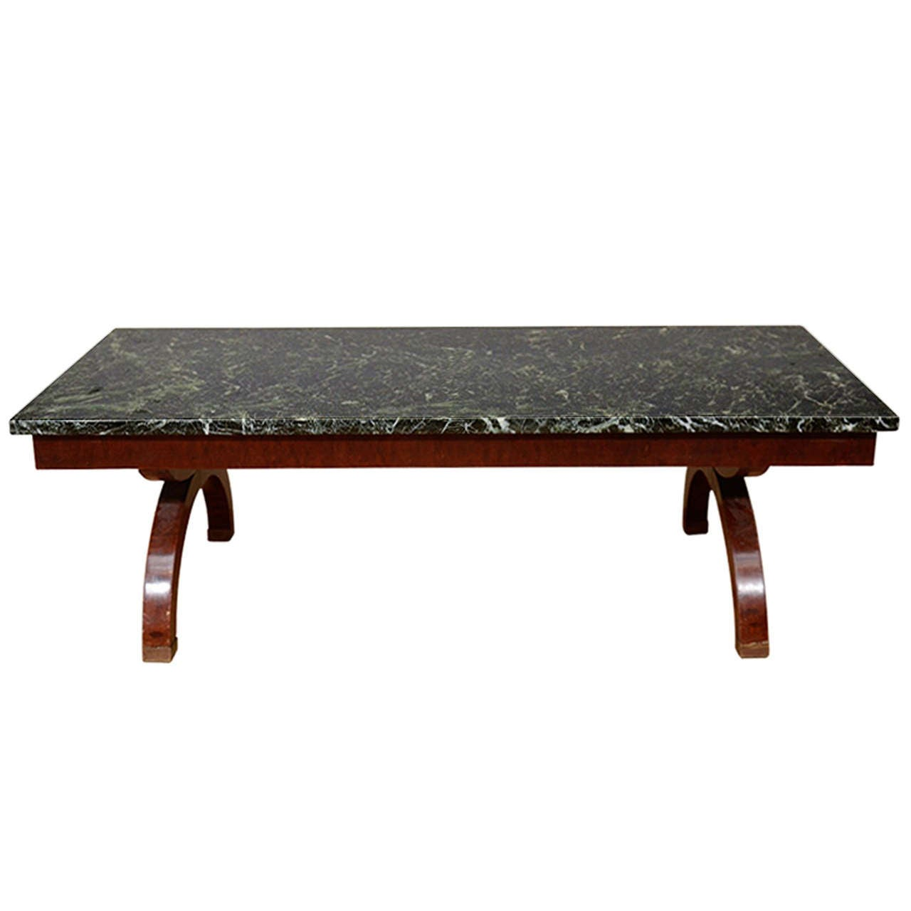Art Deco Coffee Table With Green Marble Surface At 1stdibs