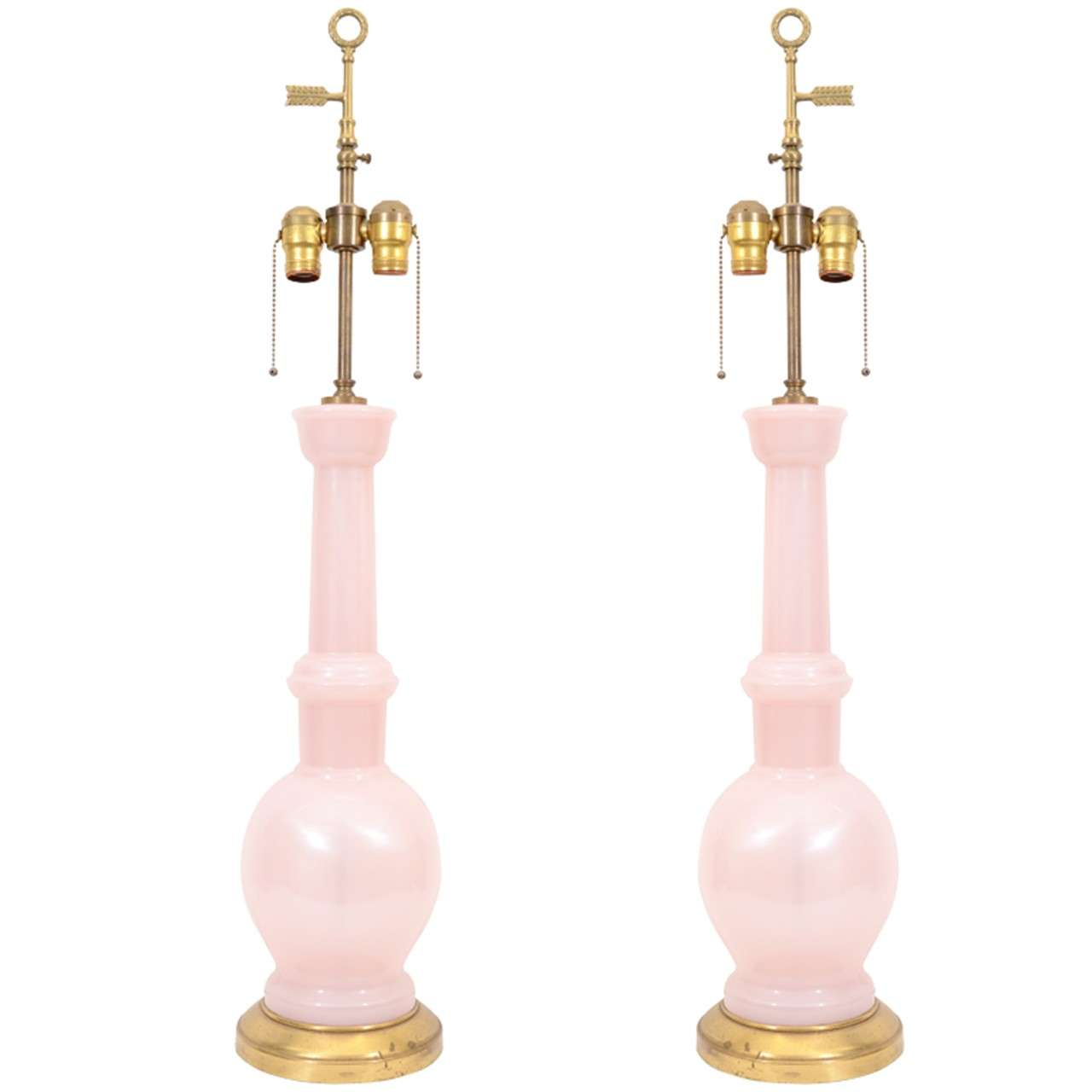 Mid Century Pale Pink Murano Glass Lamps 1