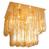 Amber & Clear Murano Glass Two Tier Flush Mount Fixture by Mazzega
