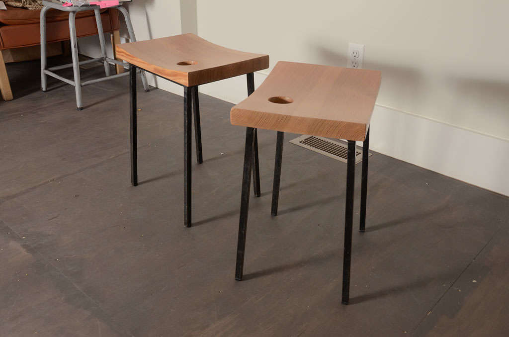 French Pair of Pine + Metal Stools For Sale