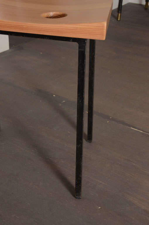 Pair of Pine + Metal Stools For Sale 2