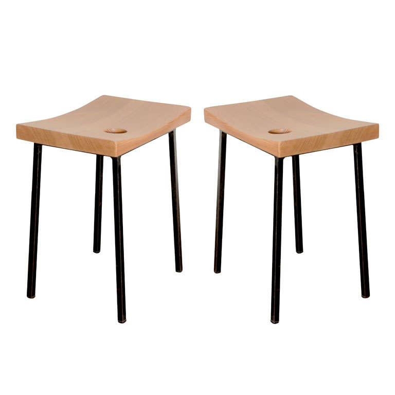 Pair of Pine + Metal Stools For Sale
