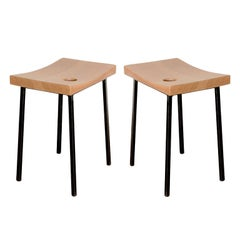 Pair of Pine and Metal Stools