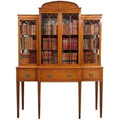 English Satinwood Vitrine with Desk