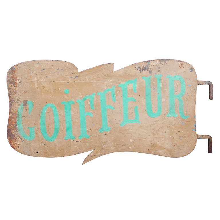 French Metal Coiffeur Sign For Sale