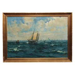 Italian Harbor Painting