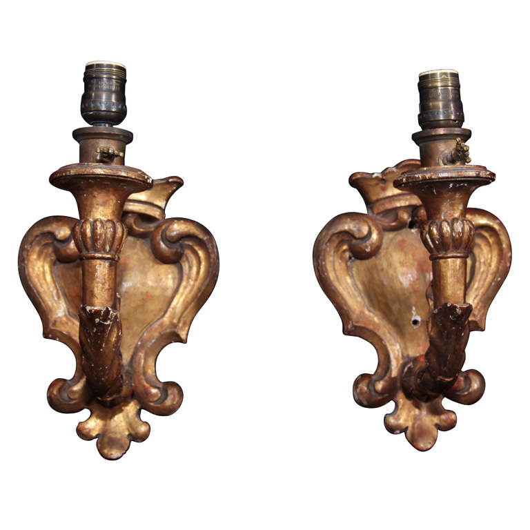 pair gilt wood sconces at 1stdibs