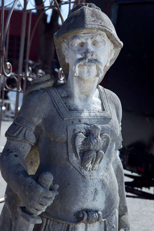 Pair of Stone Figures of Roman Soldiers For Sale at 1stdibs
