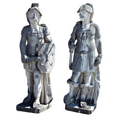 Pair of Stone Figures of Roman Soldiers