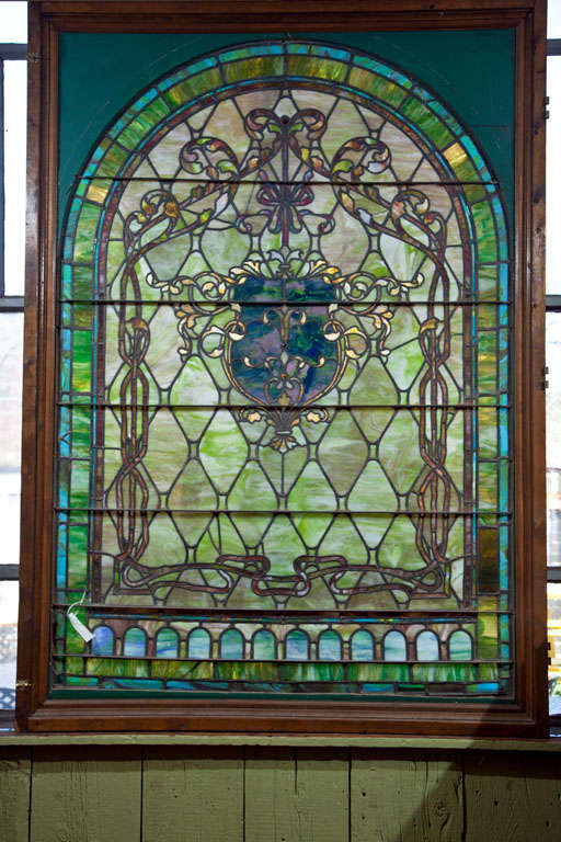 American Large Antique Stain Glass Window For Sale