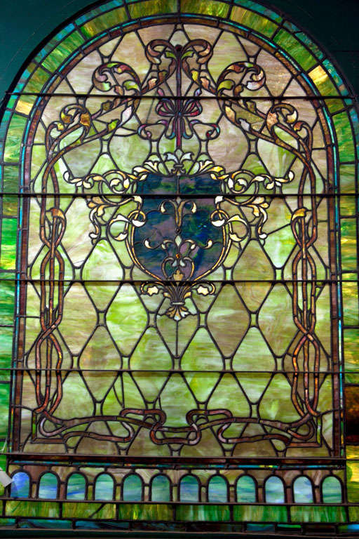 Large Antique Stain Glass Window For Sale 1
