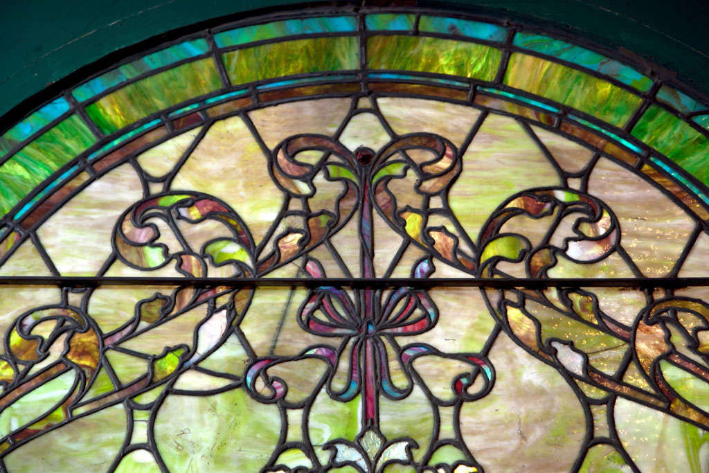 Large Antique Stain Glass Window For Sale 3