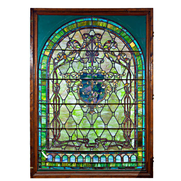 Large Antique Stain Glass Window For Sale