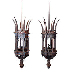 Antique Iron and Bronze Gold Gilded Horse Head Chandelier ...