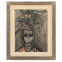 "Bernard Buffet Lithograph on Paper, 1951 ""Limited Edition"" 58/300"