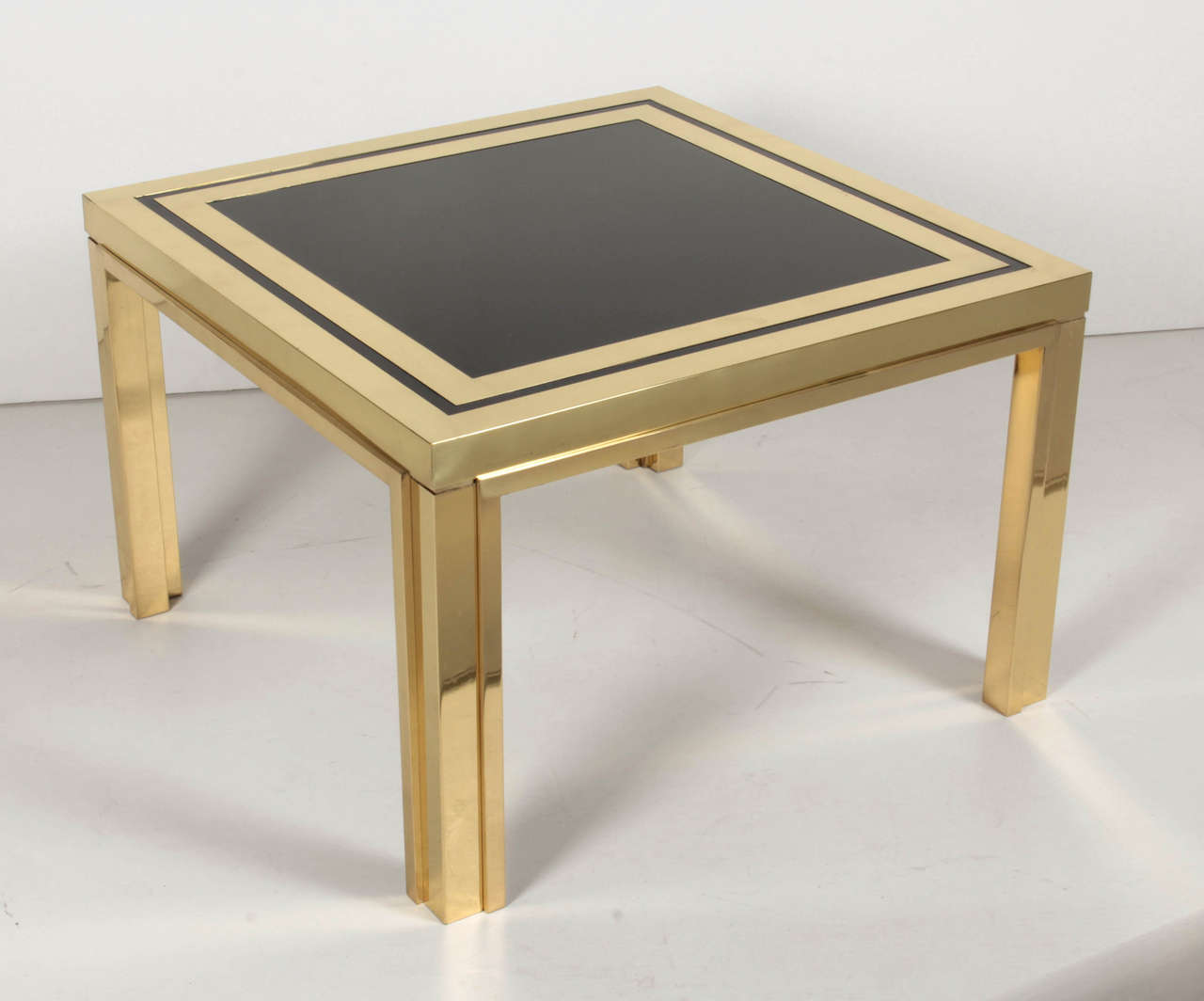 Midcentury brass and black glass coffee or end tables for sale at 1stdibs Glass coffee and end tables