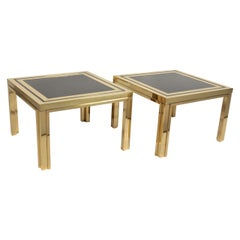 Midcentury Brass and Black Glass Coffee or End Tables