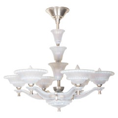 Large Opalescent, Frosted Art Glass, Six-Arm Chandelier Signed Ezan