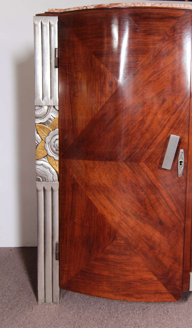 Early 20th Century French Art Deco Gold and Silver Leaf, Hand-Carved Parquetry Inlaid Cabinet For Sale