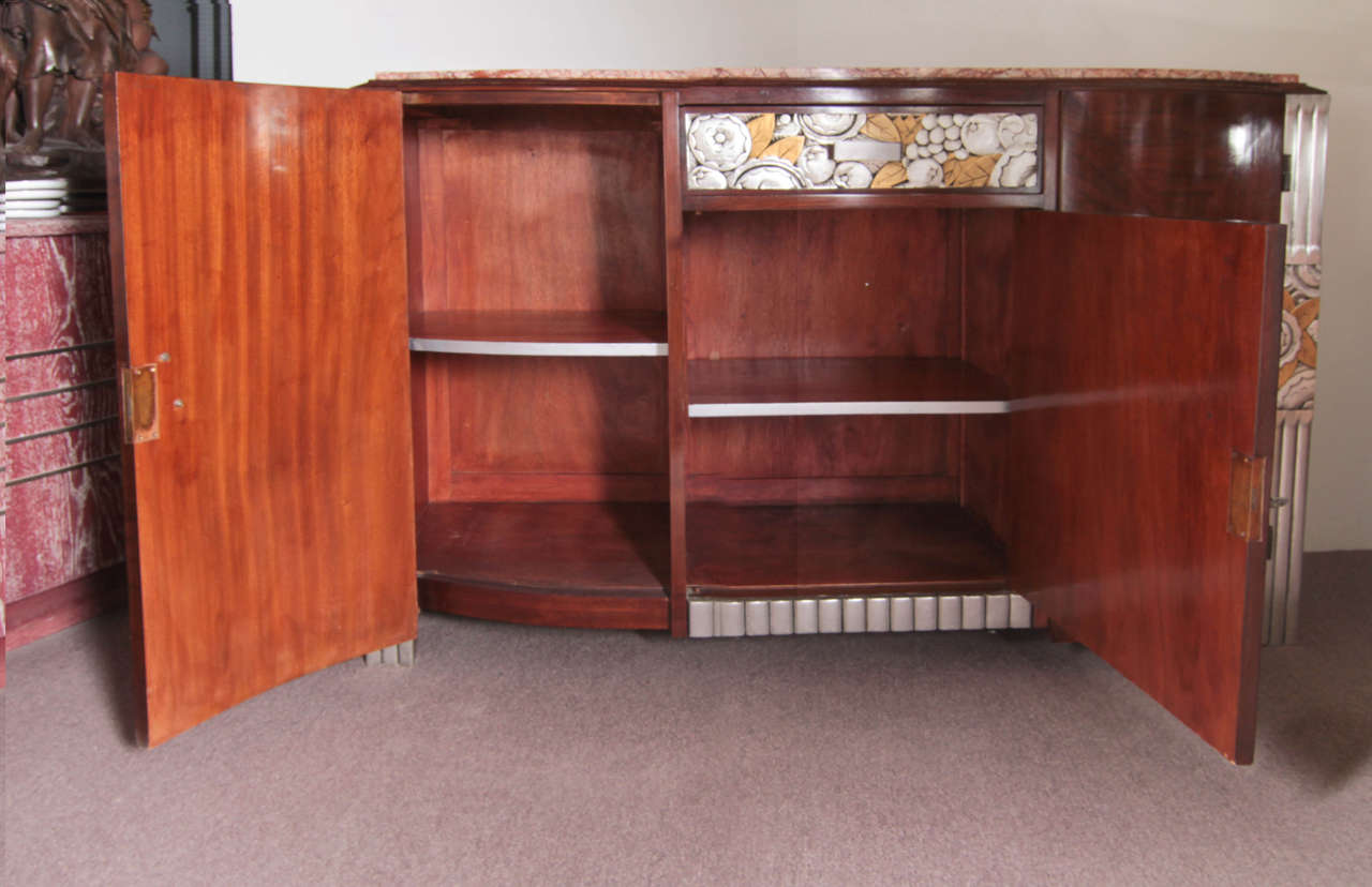French Art Deco Gold and Silver Leaf, Hand-Carved Parquetry Inlaid Cabinet For Sale 2