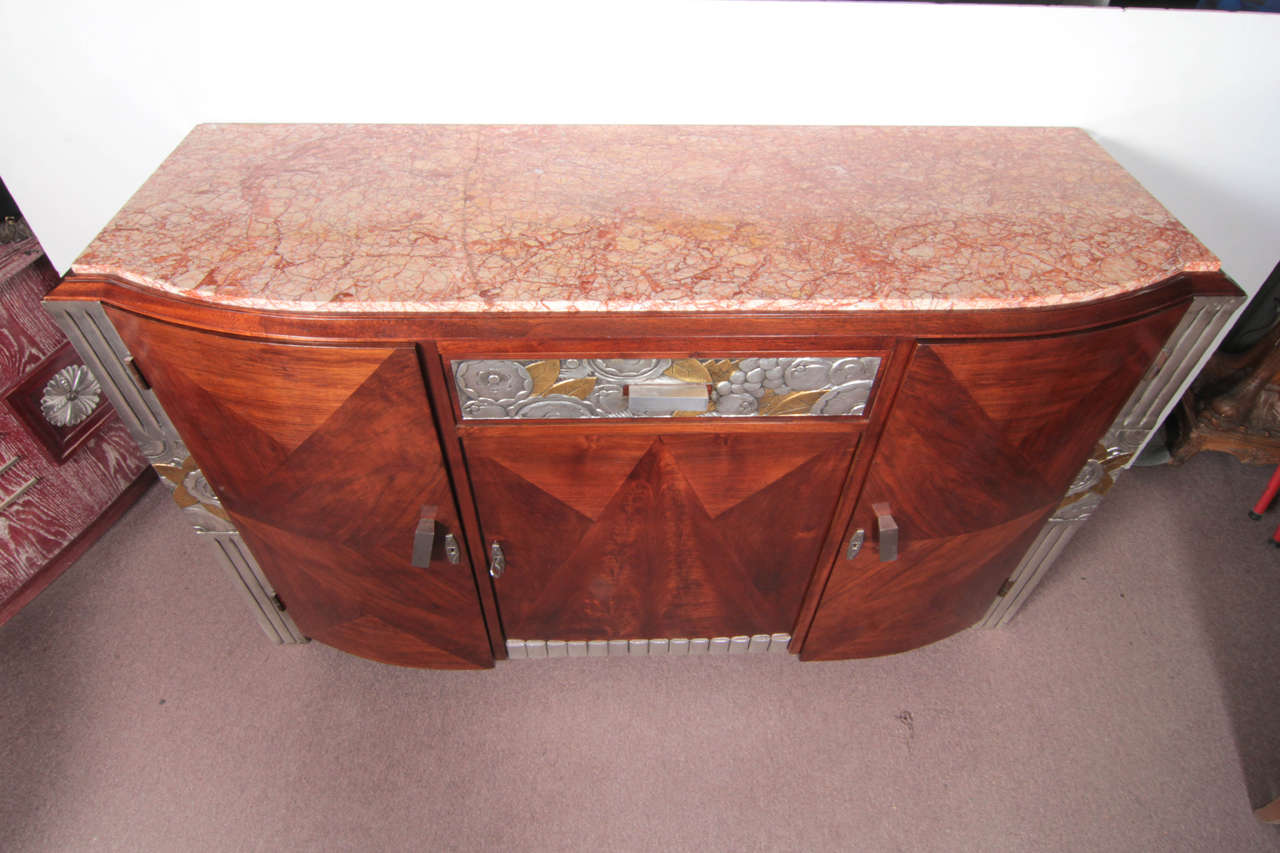 French Art Deco Gold and Silver Leaf, Hand-Carved Parquetry Inlaid Cabinet For Sale 4
