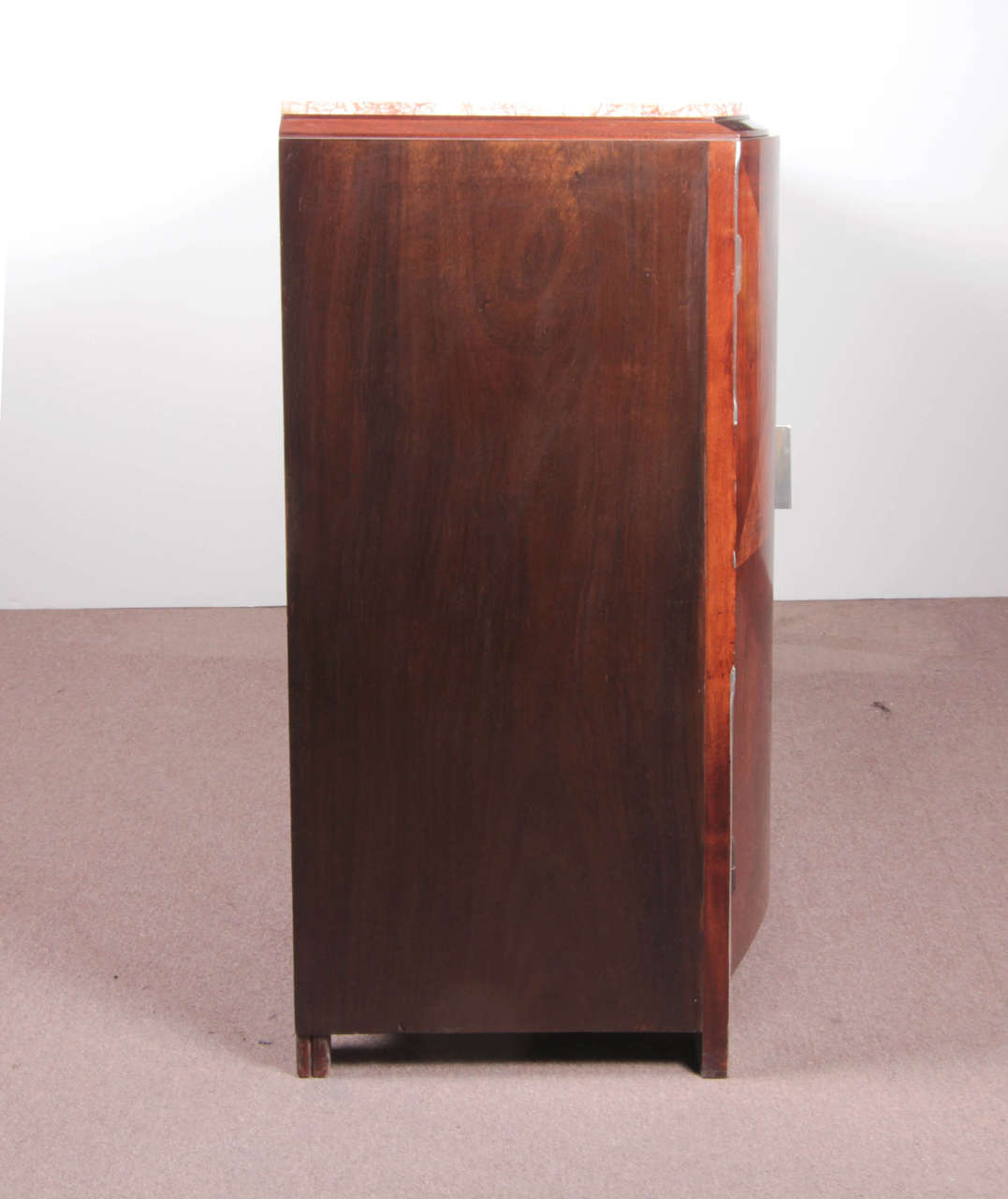 French Art Deco Gold and Silver Leaf, Hand-Carved Parquetry Inlaid Cabinet For Sale 6