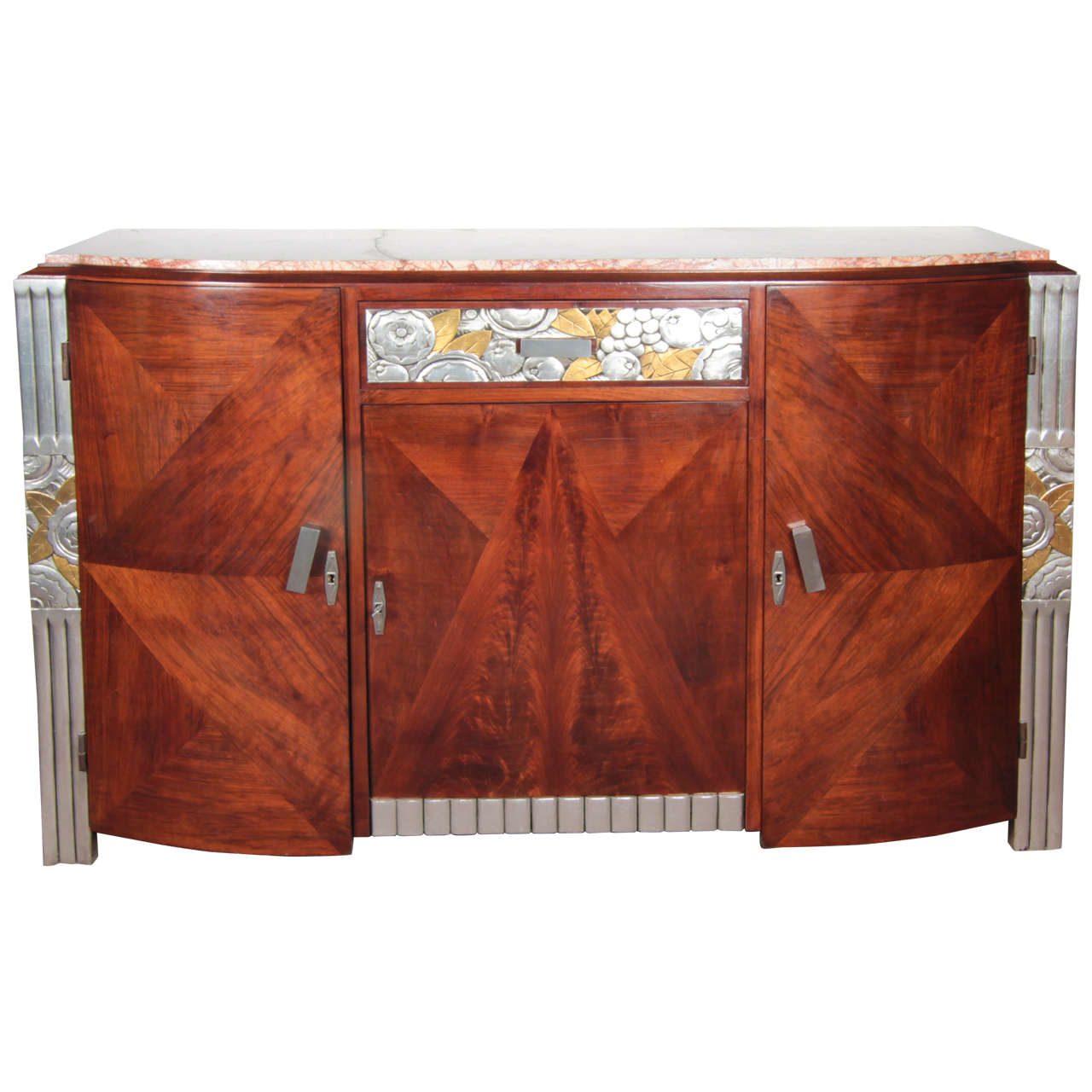 French Art Deco Gold and Silver Leaf, Hand-Carved Parquetry Inlaid Cabinet