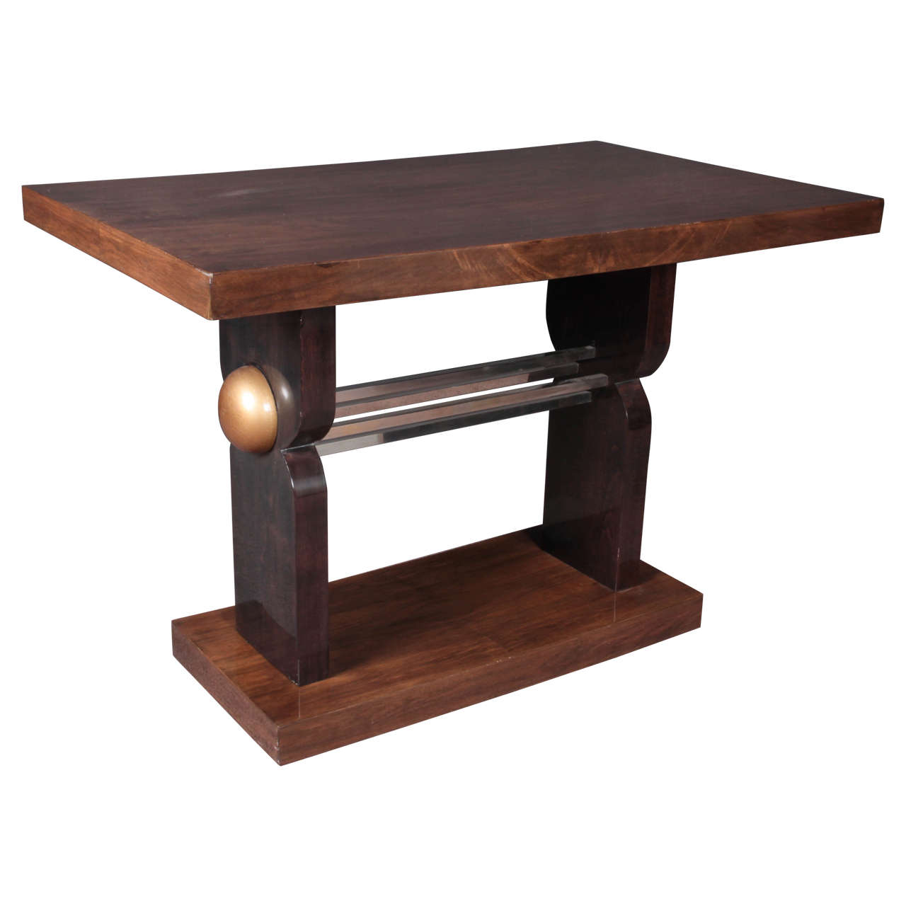French Art Deco Two-Tone Walnut Table with Nickeled Mounts